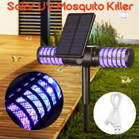 Solar Powered Outdoor Fly Bug Zapper Mosquito Insect Killer LED Light Trap Lamp
