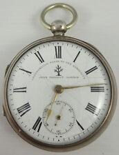 Antique silver pocket watch John Forrest London fonctionne pas pour pièces ou réparation
