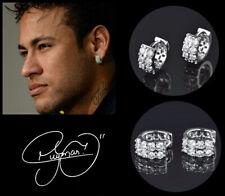 Men's/Boy's: Neymar AAA* Multi-Diamond-Set 18 Carat White Gold Huggie Earrings