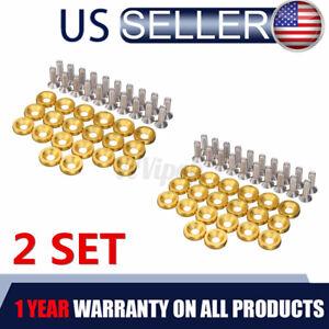 40Pcs Gold Billet Aluminum Fender Bumper Washer Bolt Engine Bay Screw Kit JDM