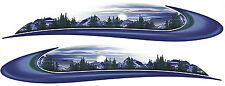 2 RV TRAILER CAMPER MOUNTAIN SCENE GRAPHICS DECALS STRIPES -726