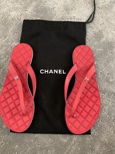 Womens Authentic Chanel Sandals Flip Flops Red Size US 6