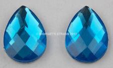 STRASS Gocce goccia Blu azzurro 13mm x 18mm 10pz cabochon pietra Termoadesivi