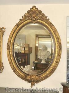 French Louis XVI Gilt Oval Mirror Glass Pier Mirrors