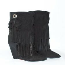 Isabel Marant Purdey Black Leather High Wedge Ankle Boots Pointed Toe Sz US 7.5