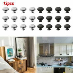 12 Pcs Door Knobs Cabinet Handles Cupboard Drawer Kitchen Stainless Steel DIY UK