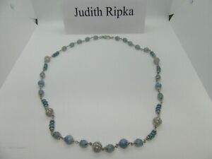 Judith Ripka Sterling Silver .925 Necklace Milky Aquamarine Stone 36""