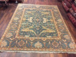 On Sale Genuine Hand Knotted Indo Oushak Heriz Geometric Area Rug Carpet 8x10,26
