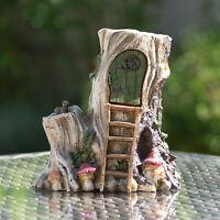 Tree Trunk Magic Fairy Garden House Outdoor Ornament Patio Accessories Decor