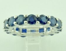 14k Solid White gold Natural Blue Sapphire Eternity Ring 5.95 ct September Birth