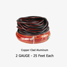 25FT Black 25FT Red Wire Kit Copper Clad Power Ground Audio Amp Cable 2 Ga Gauge