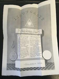 Vintage 1940 Masonic Certificate Royal Arch Masons Croydon