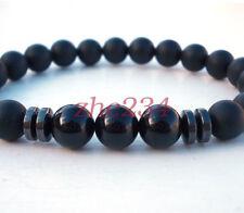 Black Tourmaline Matte Agate Stone Protection Yoga Beaded Stretch Bracelet
