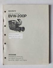 MANUEL  D UTILISATION POUR CAMERA VTR SONY BVW-200P - 1988 *