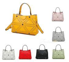 Women Multi Section Laser Cut Small Top-Handle Tote Shopper Handbag Shoulder Bag