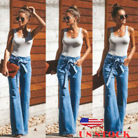 US Women Boot Cut Denim Jeggings Trouser Jeans Wide Leg Flare Bell Bottom Pants