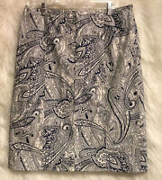 TALBOTS Paisley Blue White Skirt Unlined A-Line Side Zip Sz 12 - EUC