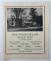 Vintage Hotel Brochure New Travelers Inn Plymouth New Hampshire 1910s 1920s