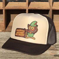Woodsy Owl Vintage Trucker Hat Forest Service Smokey Bear Sidekick Brown