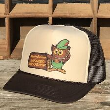 Woodsy Owl Vintage Trucker Hat Forest Service Smokey Bear Sidekick Brown c0c9ce90f6ed