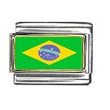 Brazilian Flag Italian Charm Bracelet Link