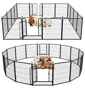Outdoor Dog Playpen Puppy Foldable Indoor Yard Fence 16 Panels 32 Inch Metal