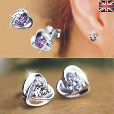 Womens Heart Earrings Cubic Zirconia Studs Fashion Jewellery 925 Sterling Silver