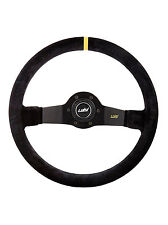 "SPORT BLACK SUEDE DISHED STEERING WHEEL 350mm 13.8"" LUISI JET CORSA - BRAND NEW"