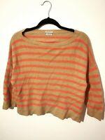 Vintage S M BENETTON Cashmere Angora Wool Mix Jumper Orange Stripe Small Medium