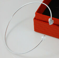 Fashion jewelry lovely silver Rhinestone Love Heart Bangle Cuff Bracelet
