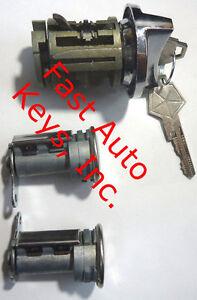 NEW Dodge Ignition Switch Lock Cylinder + Pair Door Lock Cylinder W/2 Logo Keys