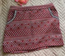 Just Fab Women's M Jacquard A-line Smirt Red Multi Pockets Boho
