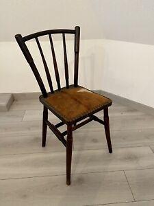 Ancienne Chaise Bois Peau De Chèvre Vintage / Art Populaire Design Ferme