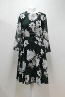 HOBBS Ladies Aurelie Black Multi Floral Print Fit & Flare Dress UK16 NEW