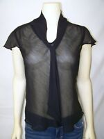 Attention Black Sheer Cap Sleeve V-Neck Career Evening Top Womens Size Small 4 6