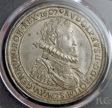 "1607, Emperor Rudolph II. Scarce Silver ""Alchemy"" Thaler Coin. Hall! PCGS AU-58!"