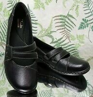 CLARKS BLACK LEATHER MARY JANES SLIP ON LOAFERS WORK DRESS SHOES WOMENS SZ 7 M