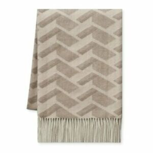 NWT Williams-Sonoma Home 100% Cashmere Taupe Geometric 50 X 65 Throw