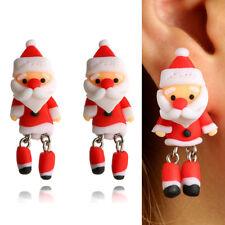 Paire Femme Boucle Oreille Poupée Père Noël Argile Molle Déco Noël Enfant Cadeau