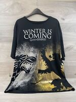 Game Of Thrones T Shirt XXL Winter Is Coming Gold & Silver Print | Chest 48-50""
