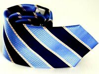 Hardy Amies tie Men's Silk Necktie, Blue striped, 100% Silk, Italian Made Tie