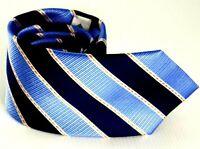 Hardy Amies tie Men's Silk Necktie, Blue striped, 100% Silk, Italian Made Tie