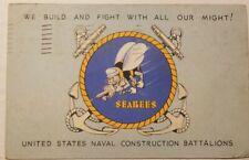 Vintage 1943 Postcard SEABEES - US Naval Construction Battalions