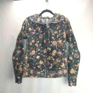 Lululemon Womens Hooded Jacket Multicolor Floral Mock Neck Pockets Stretch 8