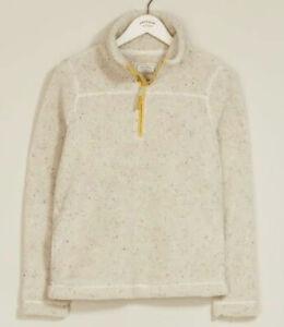 FAT FACE Size 8 Sherpa Jacket Zip Up Fleecy Jumper w Pockets Beige Cream Size S