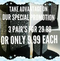 Women Winter Boots Flat Mid-Calf with silver studs New Fashion Design