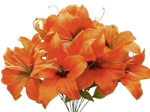 "ORANGE Tiger Lily Bush Satin Artificial Flowers 19"" Bouquet 11-8225OR"