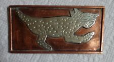 COPPER BELT BUCKLE SILVER TONE LIZARD/GECKO ? MADE IN MEXICO VINTAGE