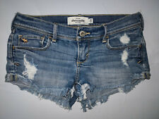 ABERCROMBIE Girls Youth Stretch JEAN Destroyed SHORTS Size 14