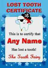 Blue Lost Tooth Fairy Award Certificate